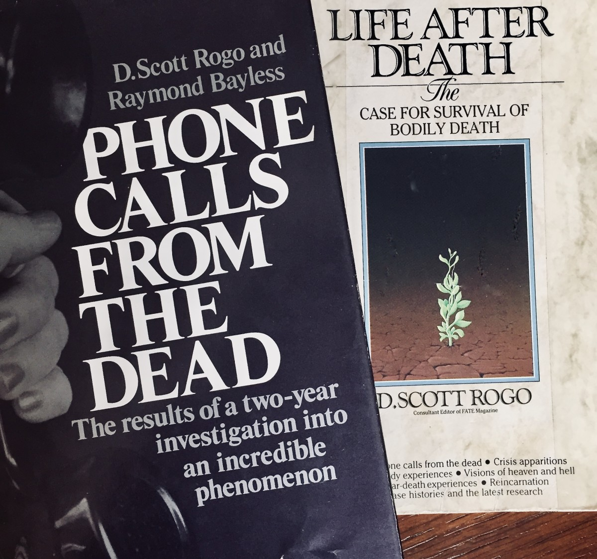 """Phone Calls From the Dead"" by D. Scott Rogo and Raymond Bayless, and ""Life After Death"" by D. Scott Rogo."
