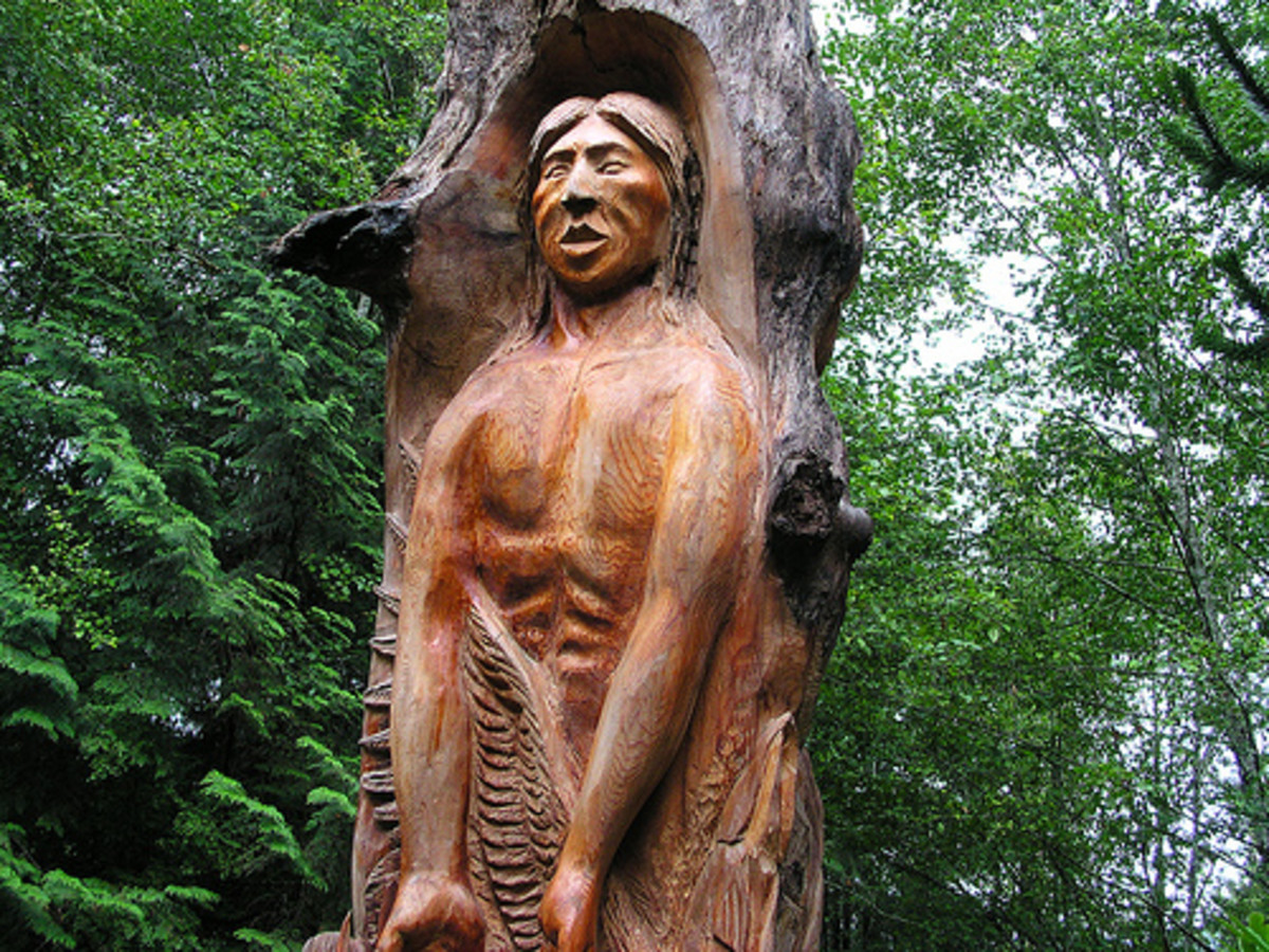 The Creation Story Totem carved by Washington State Native American Conrad Sandoval.