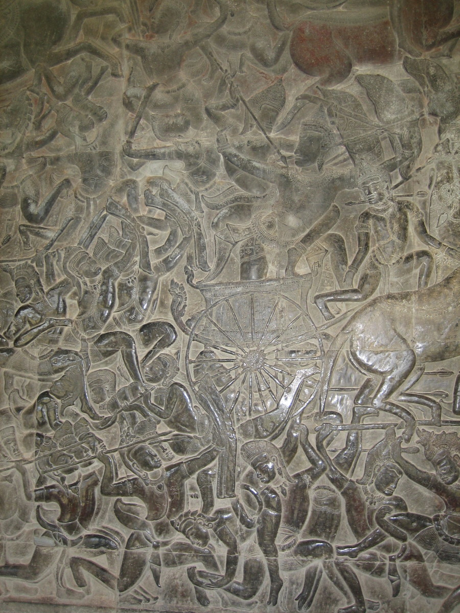 A depiction of the ancient battle from the Mahābhārata war