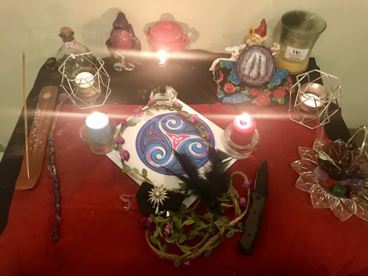 My Goddess Altar, currently dedicated to Macha of The Morrigan.