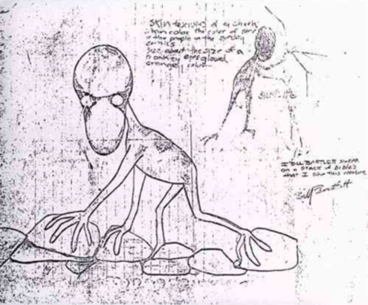 Bartlett's drawing of the Dover Demon.