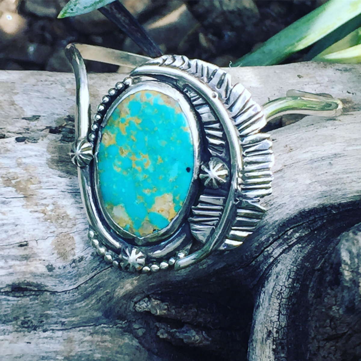 Turquoise can often be found set into jewellery.