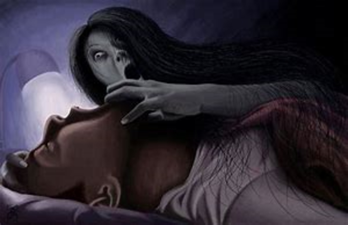 A depiction of what some victims of sleep paralysis claim to experience.