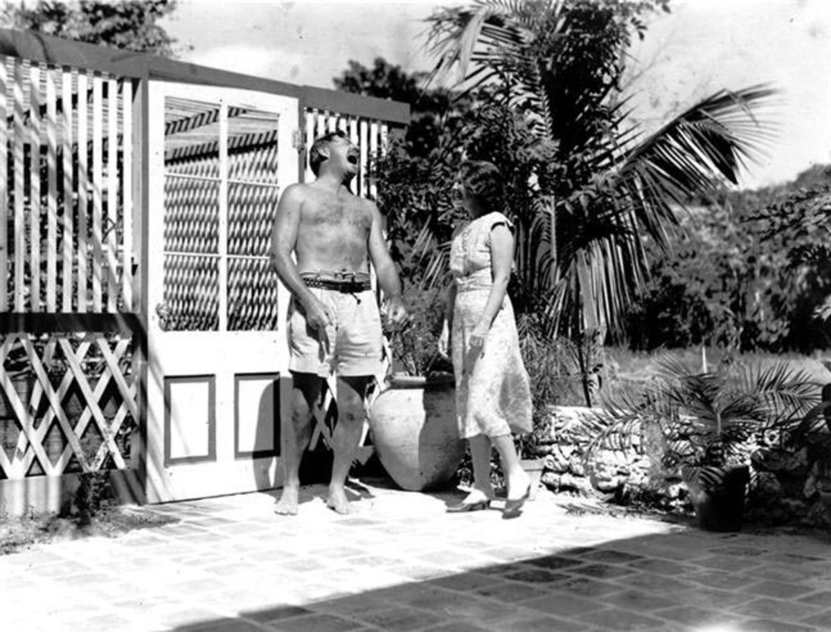 Ernest and Pauline Hemingway poolside at their Key West, Florida, home.