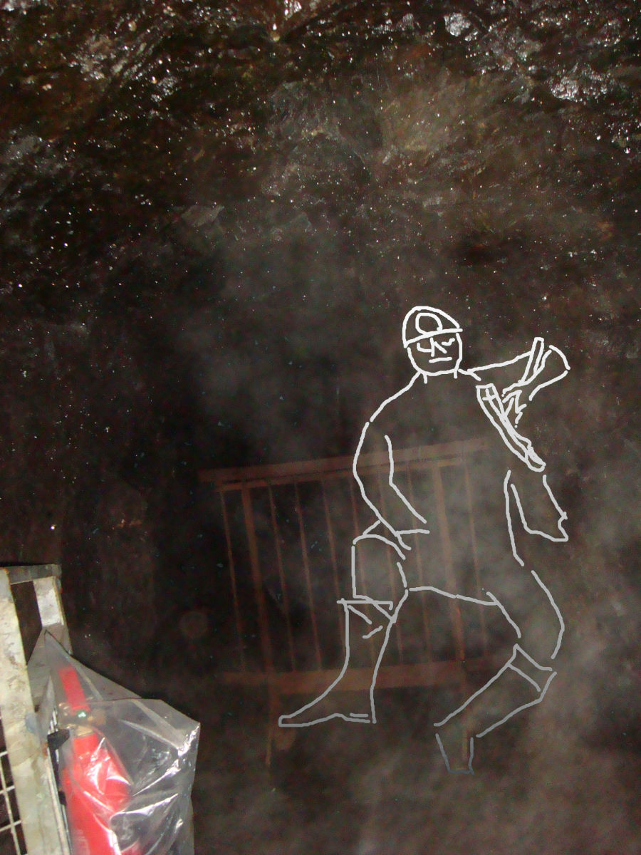 "Rough outline of the ""Miner's Ghost"" drawn onto the image taken from within the Lochnell Mine."