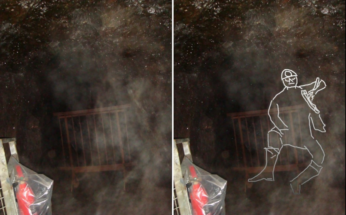 "Side-by-side comparison of the unedited, and edited ""Miner's Ghost"" image.  can you now see the ""Miner's Ghost"" in the unedited image?"