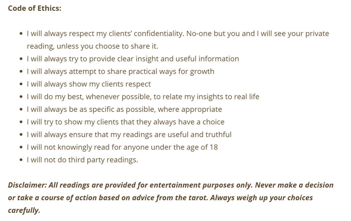 My tarot reading Code of Ethics