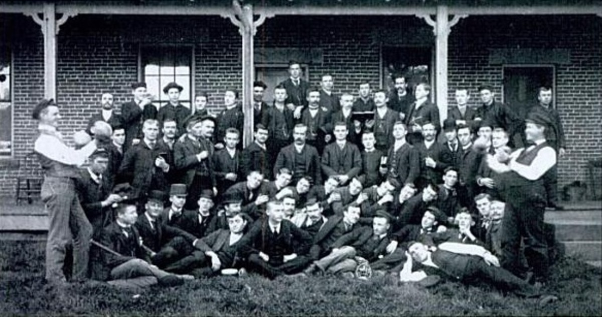A group of German Wallace students in 1892 in front of today's present day Kohler hall. Originally called the German Methodist Orphan Asylum was sold to German Wallace College in 1867. Image first published in 1892. Public domain.