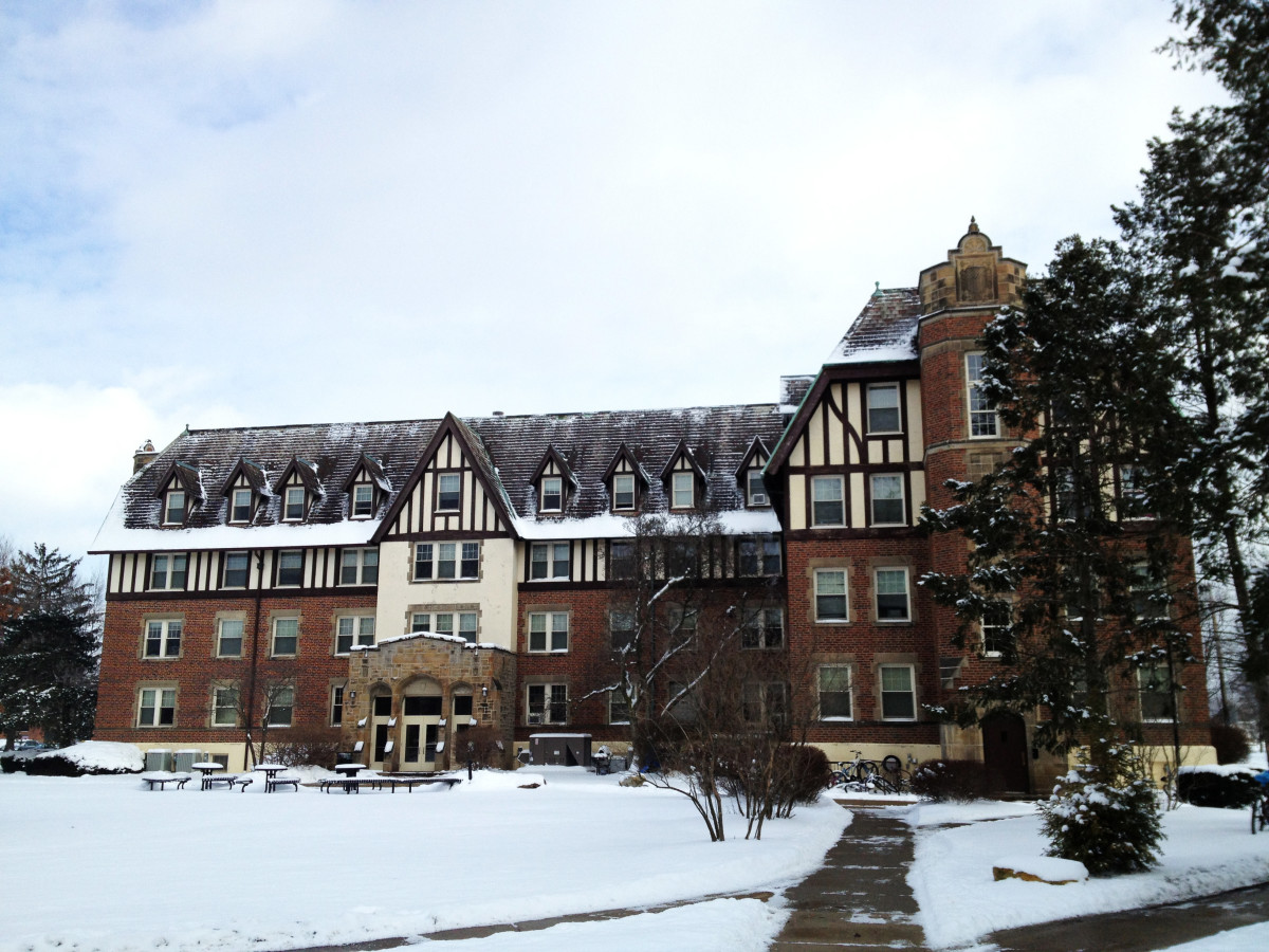 Lang Hall on Baldwin Wallace University. North Campus. 3 February 2013. Lang Hall is said to be haunted by the ghosts of Emma Lang and a student who hung herself in the closet of her dorm room.