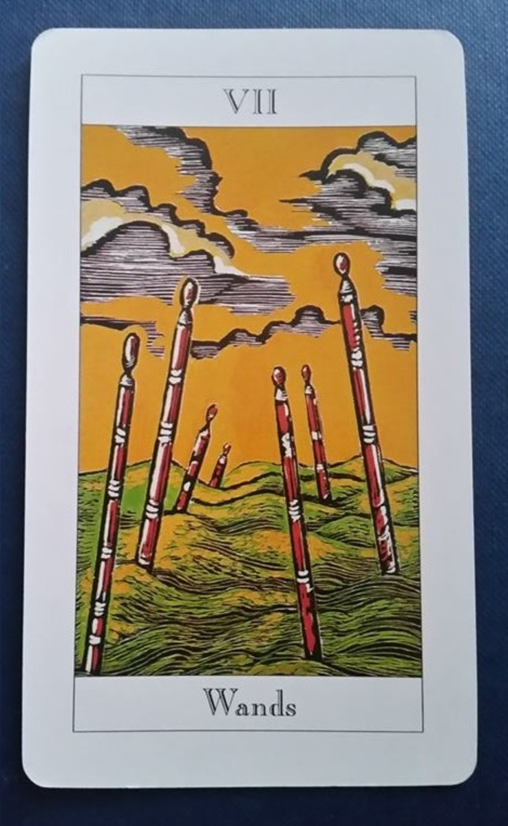 The Seven of Wands from my Tarot deck