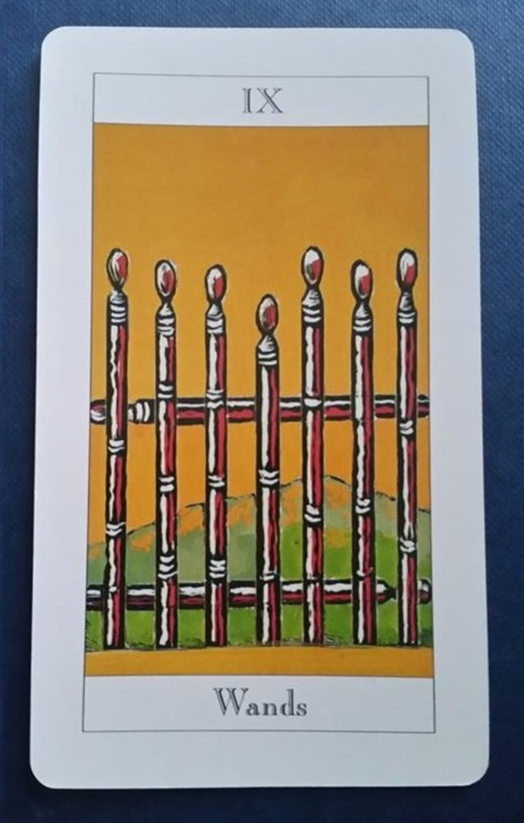The Nine of Wands from my Tarot deck