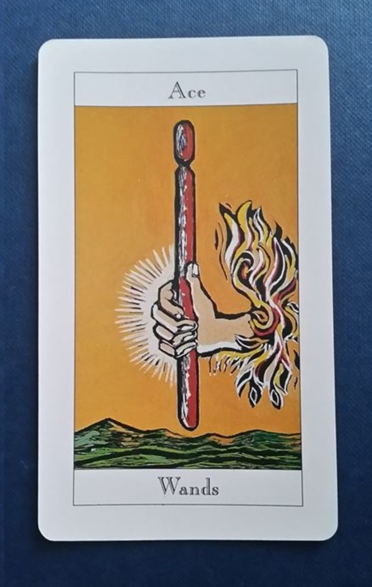 The Ace of Wands from my Tarot deck