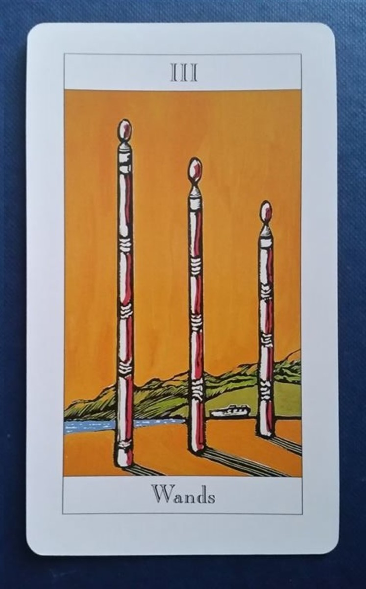 The Three of Wands from my Tarot deck