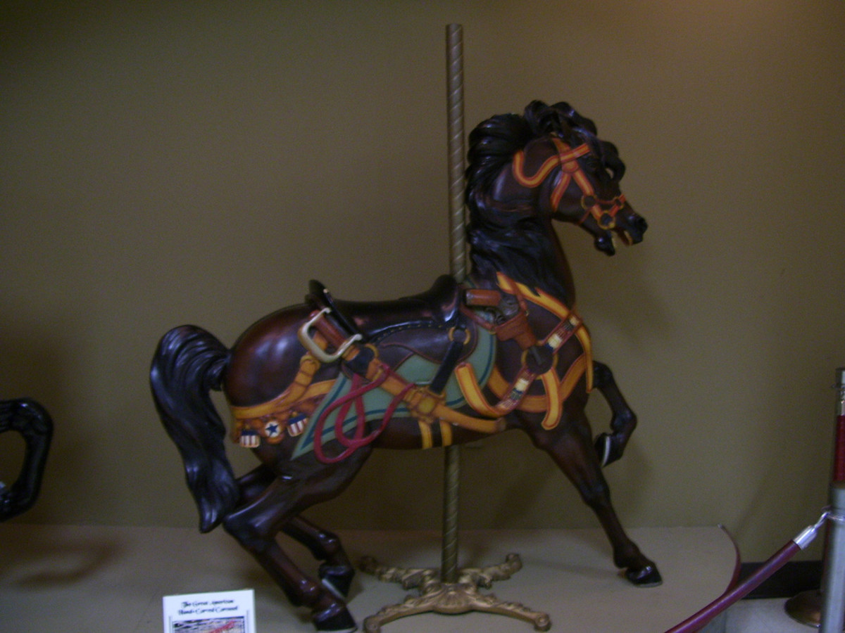 Muller's Military Horse, carved in 1917 by Daniel C. Muller. It is currently displayed in the Frontiertown Museum in Cedar Point.