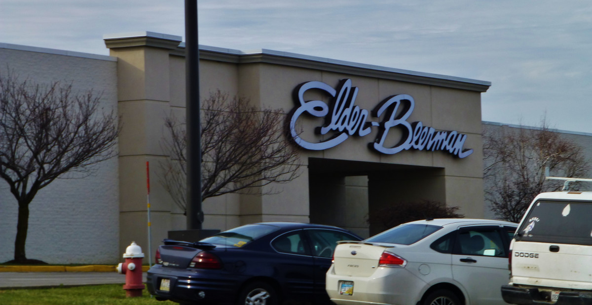 The outside entrance to Elder-Beerman in the Sandusky Mall. This store is said to be linked to many of the sightings of the Lady in Red.
