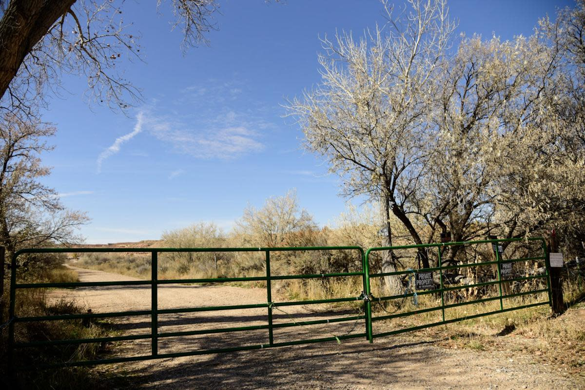 The gates on Hicken Ranch Road