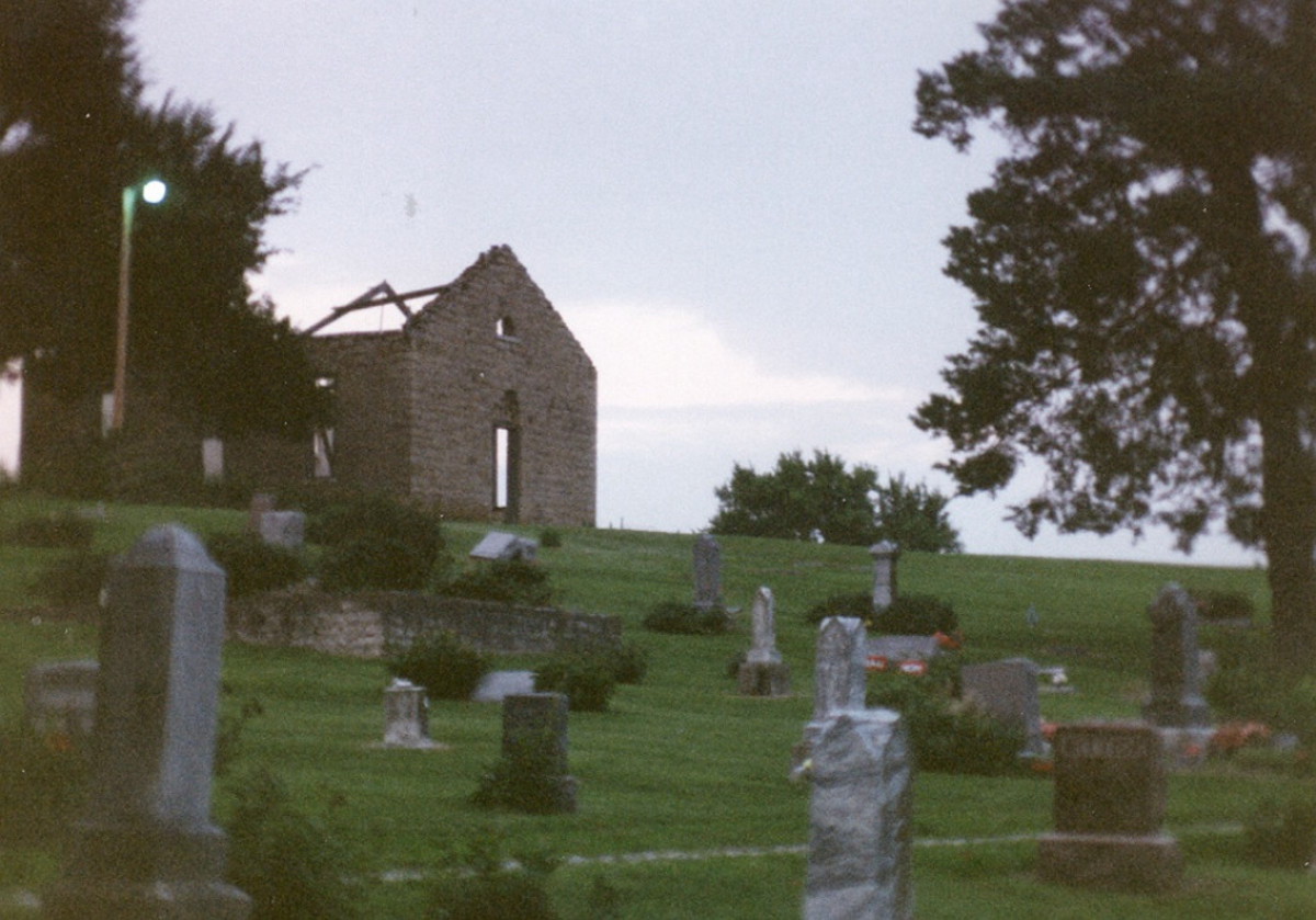 Stull Cemetery prominently featuring the roofless ruins of the church where the witches met long ago.
