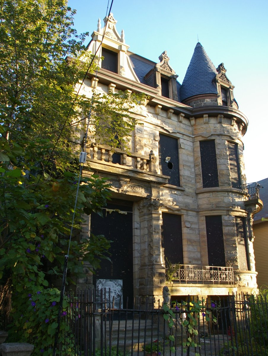 view of the Hannes Tiedemann House at 4308 Franklin Avenue, in Cleveland, Ohio. The structure, built in 1881, was designed by Cudell and Richardson, architects. It is listed on the National Register of Historic Places. 14 September 2010
