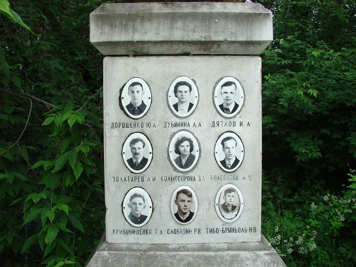 A memorial to the nine victims of the Dyatlov Pass Incident.