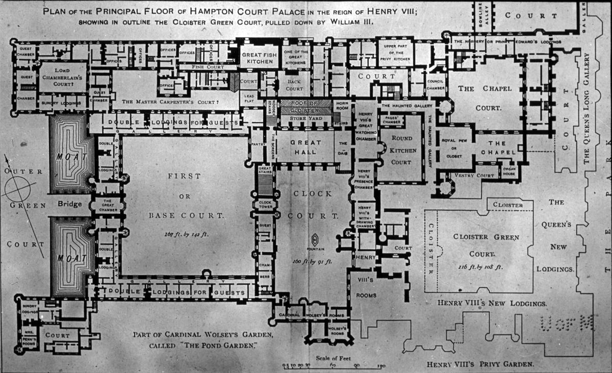 A map of Hampton Court Palace, which is rumoured to be regularly visited by a number of ghosts, including a man in a mask and a screaming Queen. Erratic magnetic fields have been measured around the building.