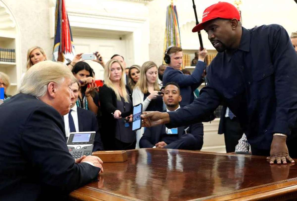 "Gemini plus Gemini is a media circus. Kanye West in the Oval Office tells President Trump, ""I think of you like a father"" on October 11, 2018."