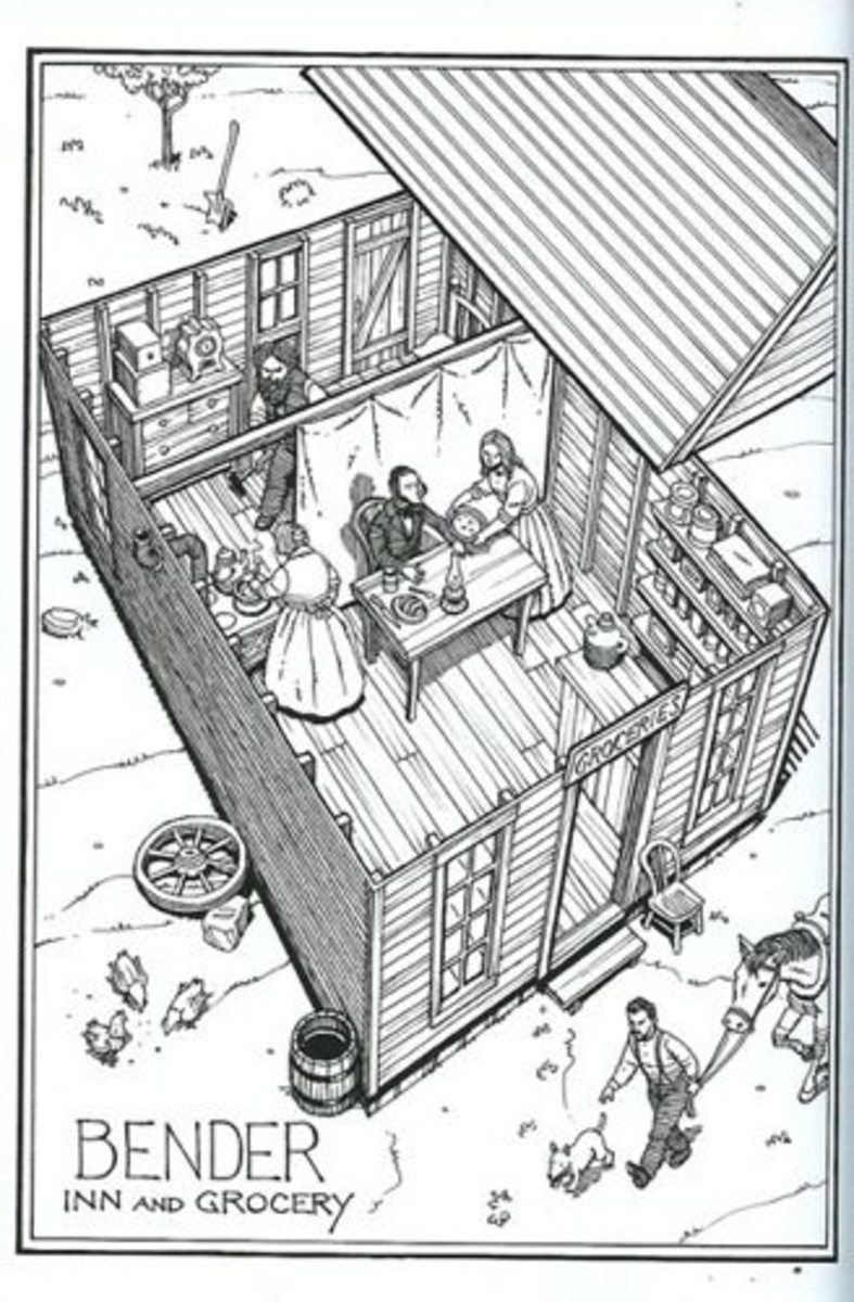"""A drawing of the Bender house that shows the curtain and the """"seat of honor"""" reserved for guests."""