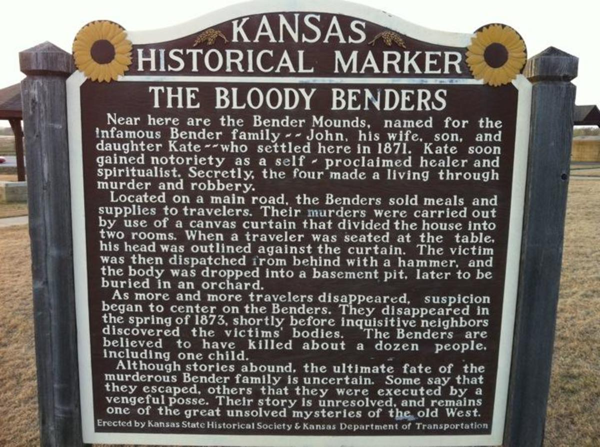 The historical marker for the site of the Bender house.