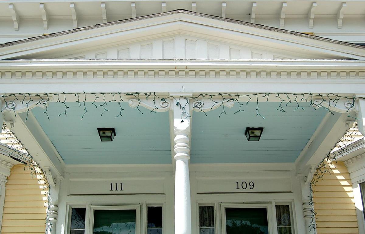 Southern porch with haint blue ceiling.