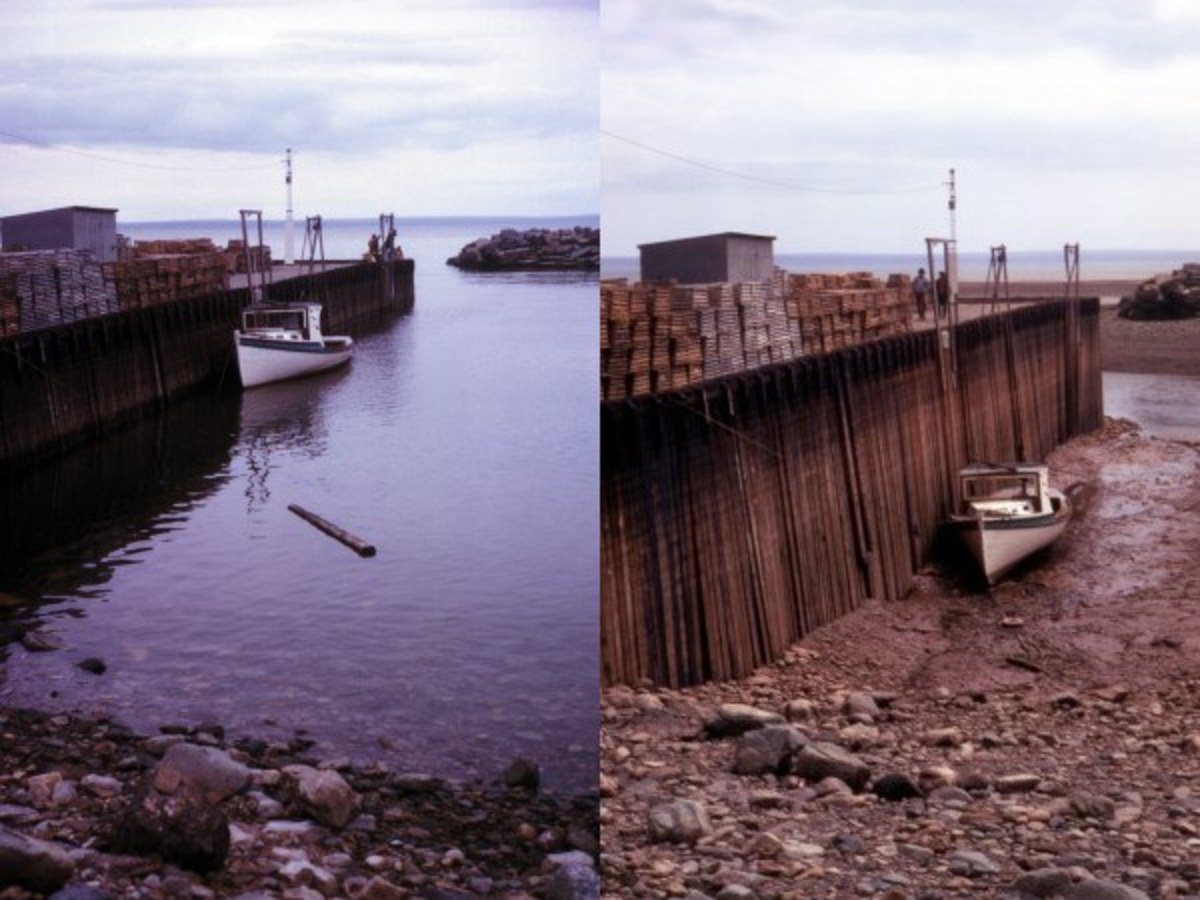 The high and low tides on the Bay of Fundy, Nova Scotia, Canada.