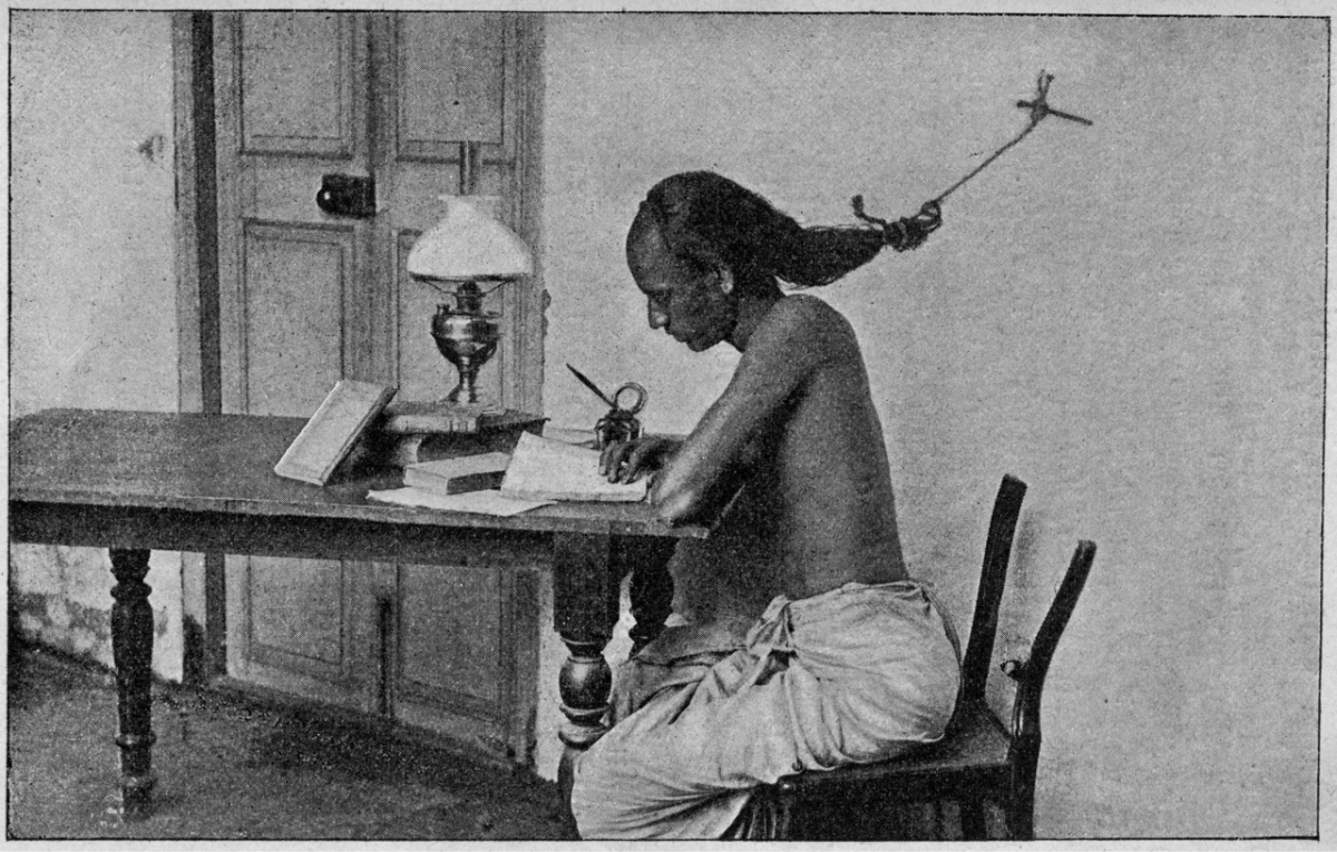 University of Madras student with hair tied to wall to prevent falling asleep