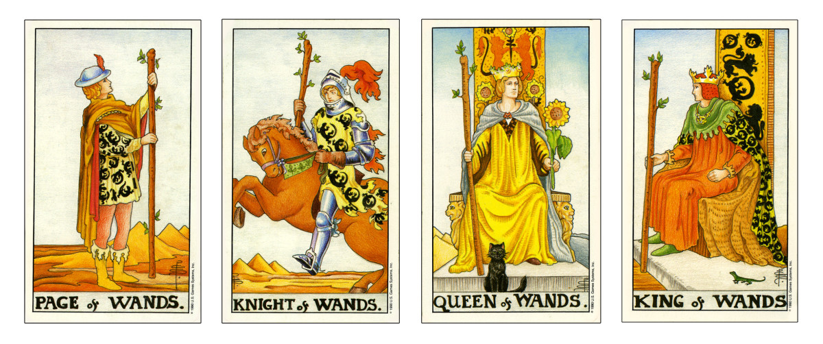 The Wands court cards.