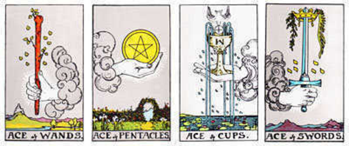 Aces displayed in the four tarot suits.