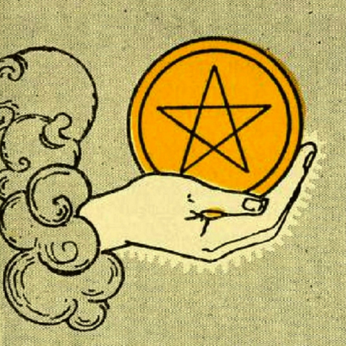The pentacles depicted in the Rider-Waite tarot deck depict pentagrams, or five-pointed stars.