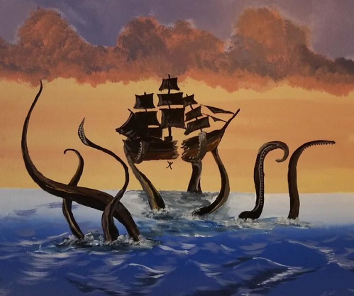An Illustration of a Kraken Preying on a Ship