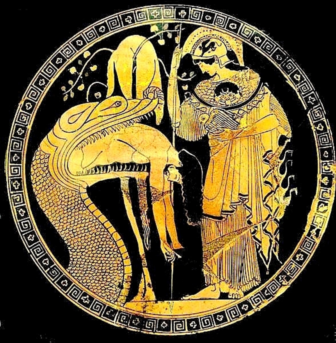 Classical Greek pottery decoration showing Athena with a python regurgitating Jason; the golden fleece hangs in a tree.