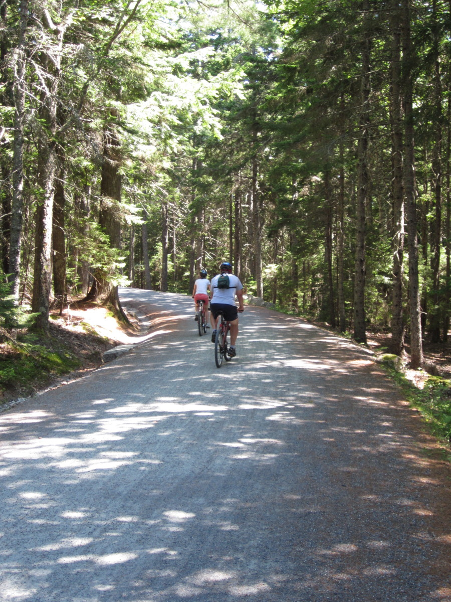 Biking on the carriage road near Jordan Pond House.