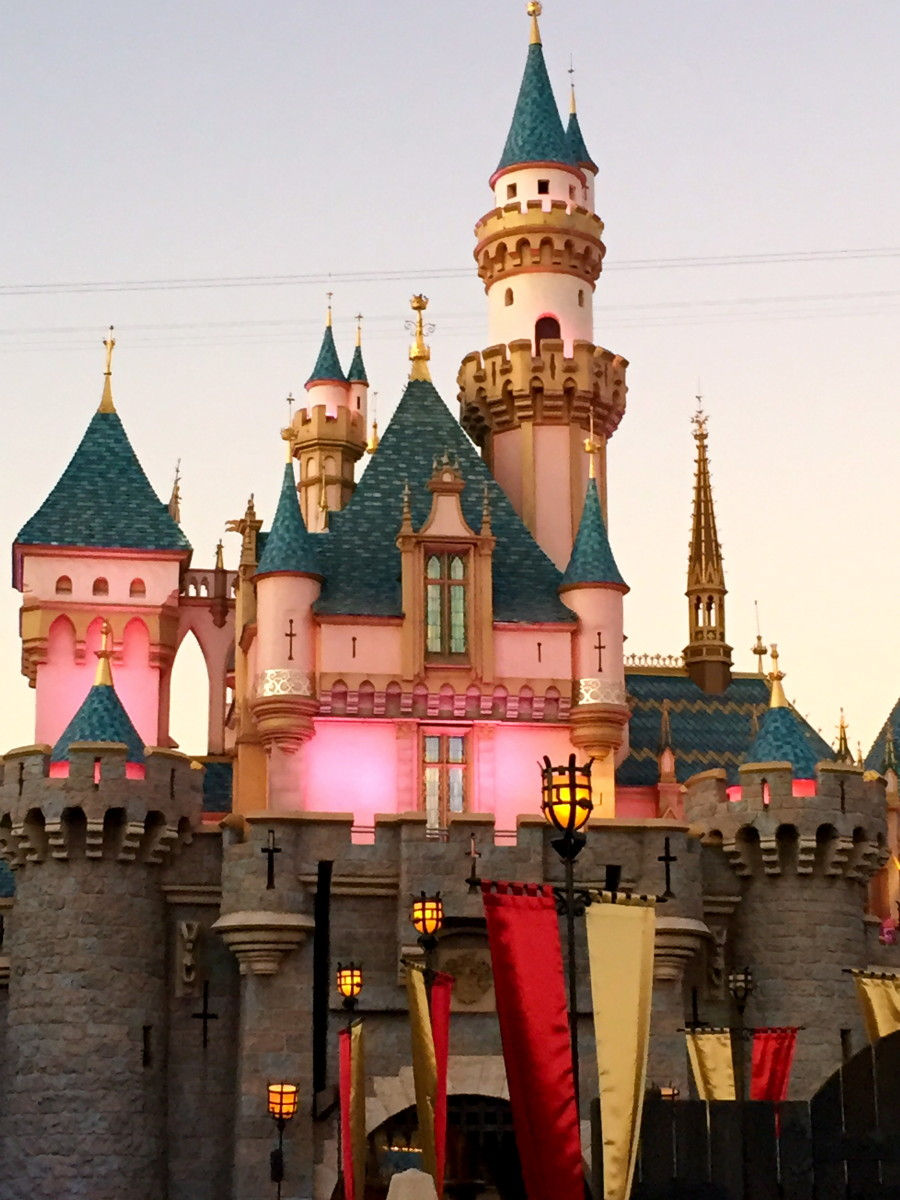 Sleeping Beauty's Castle at sunset.