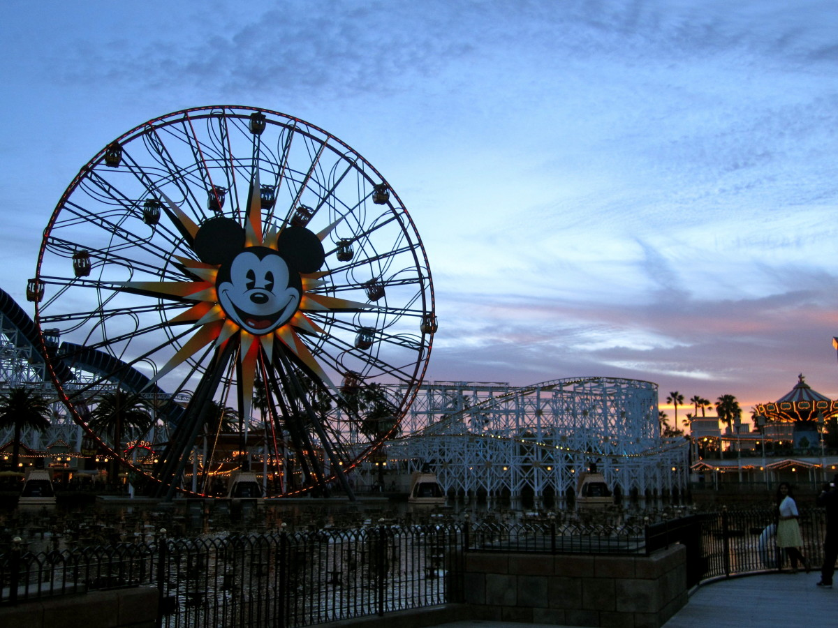 Here is Mickey's Fun Wheel at the start of sunset.