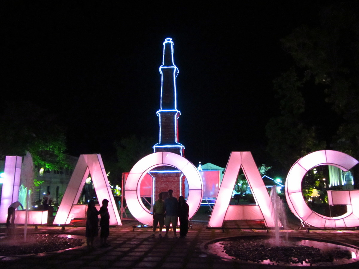 Update as of our third visit to Ilocos 2014: The Tobacco Monopoly monument with pretty lights.