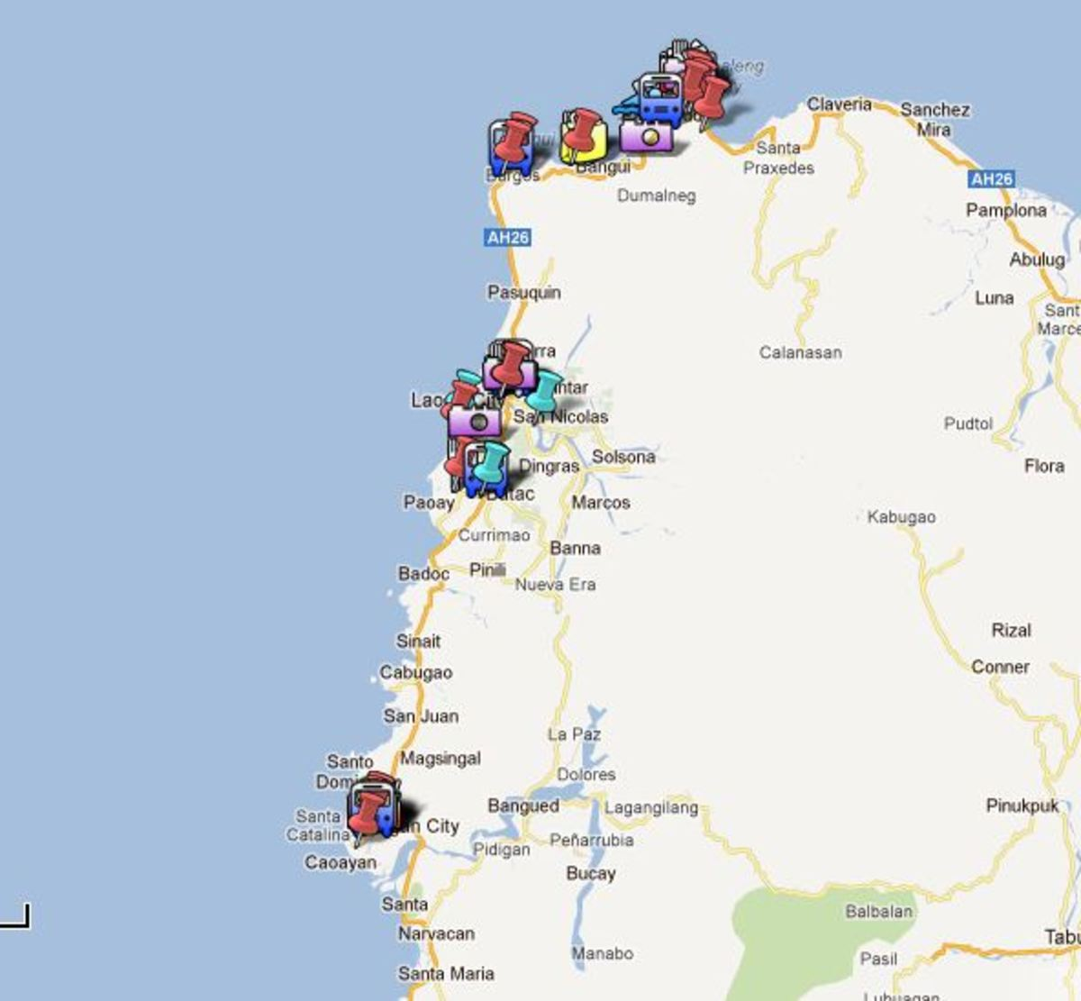 A snapshot of our Ilocos Tour in Google Maps
