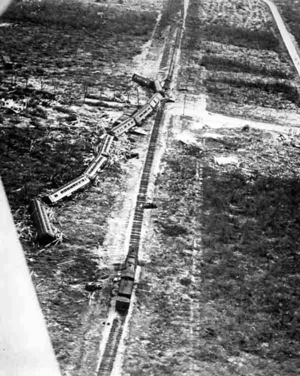 A derailed train near Islamorada, Florida during the 1935 Labor Day Hurricane.  The hurricane destroyed around 40 miles of the Middle Keys section of the line.  The Overseas Railroad was subsequently replaced by the Overseas Highway.