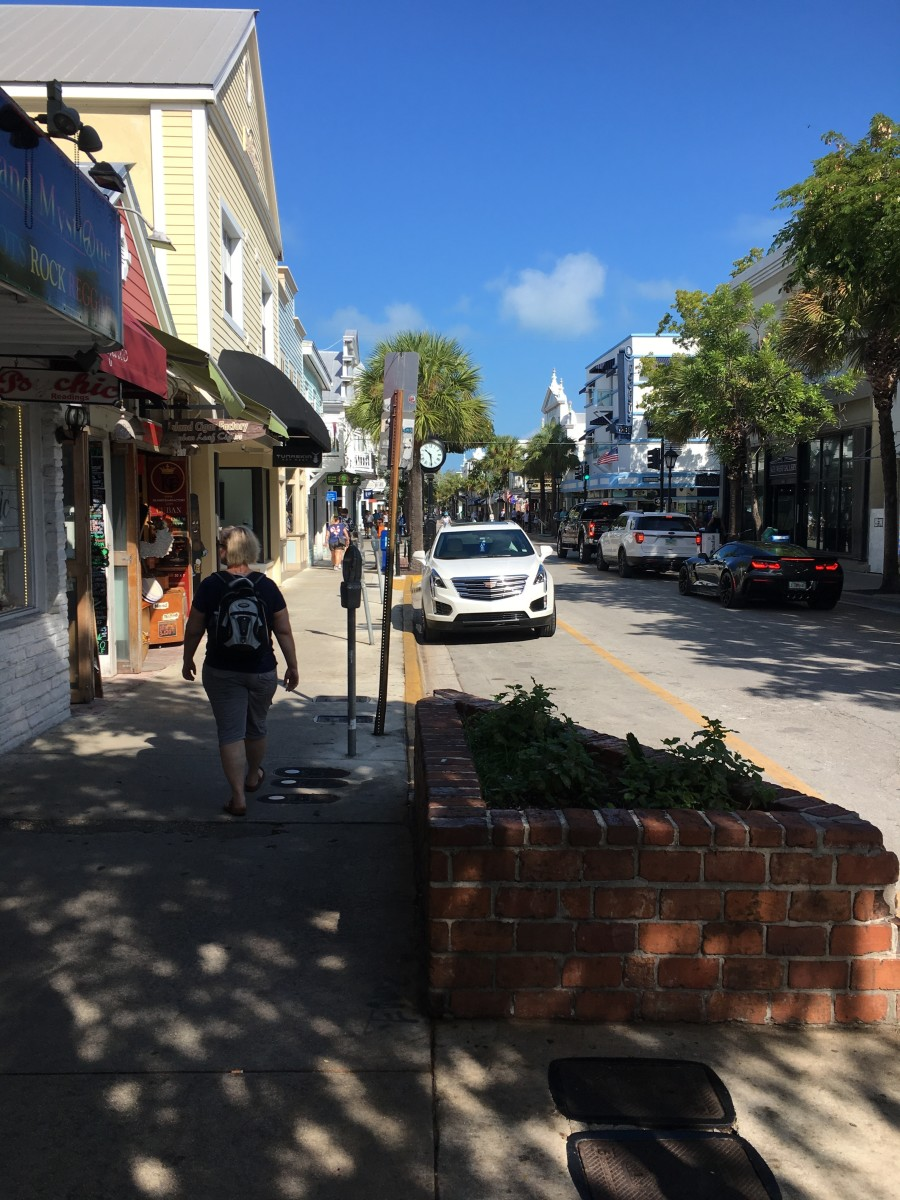Duval Street in Key West. The city  is the southernmost city in the continental United States and also the county seat of Monroe County.  It is 129 miles (208 km) southwest of Miami, Florida and 106 miles (171 km) north-northeast of Havana, Cuba.