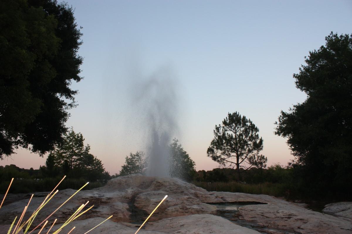 Geyser at Wilderness Ldoge at sunset