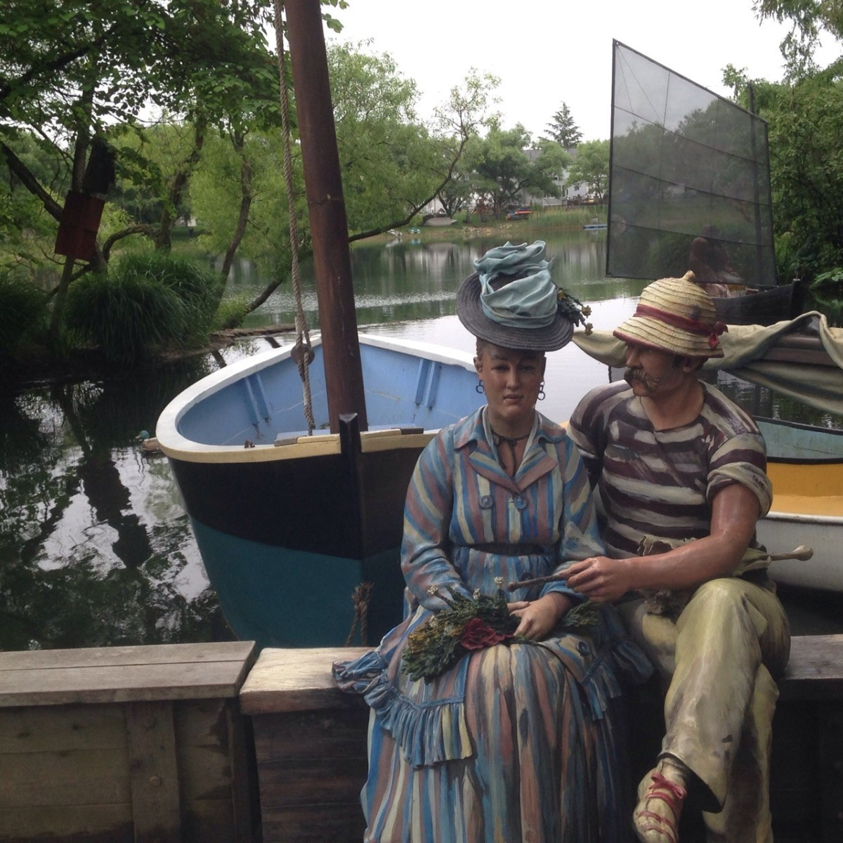 "The Grounds for Sculpture's re-creation of Manet's ""Argenteuil""-titled  'Sailing the Seine' by sculptor Seward Johnson."