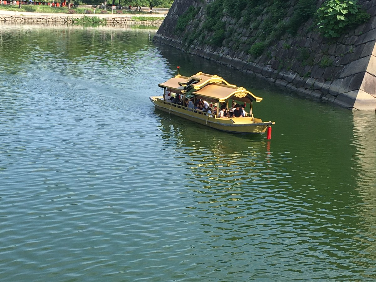 The boat the tours the moat around Osaka castle.