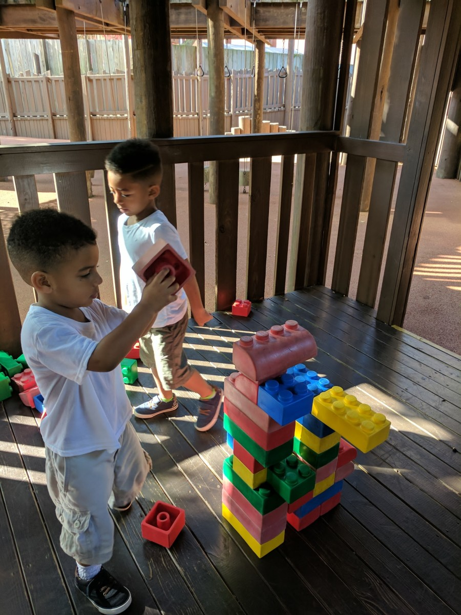 Building with super-sized blocks in the Forestman's Hideout.