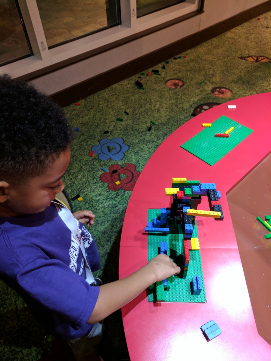 Juju hard at work on his Dr. Suess-esque steps building.