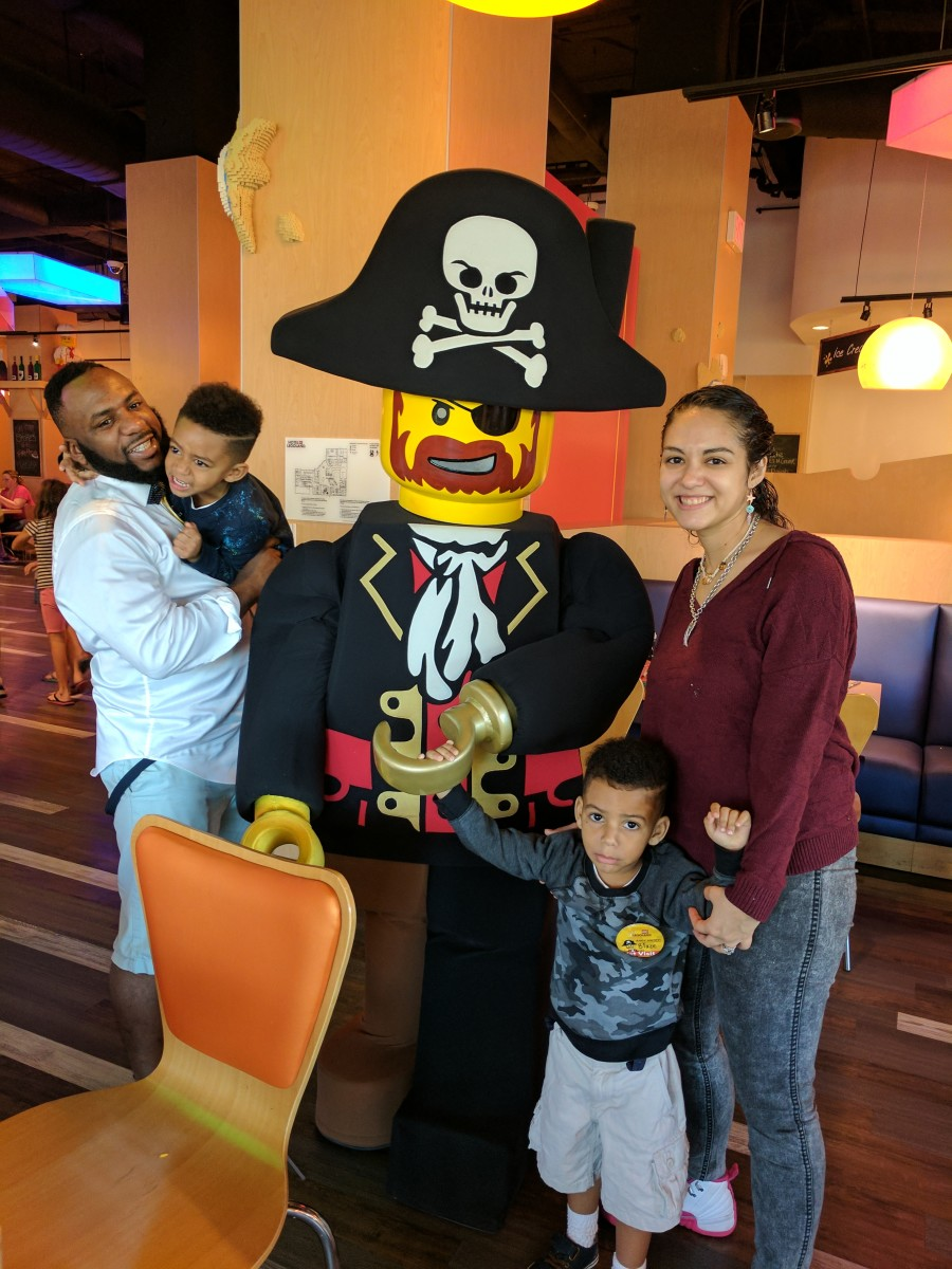 Attempting to get a decent family photo with Captain Brickbeard. Blaze is pretending to be scared of the pirate captain.