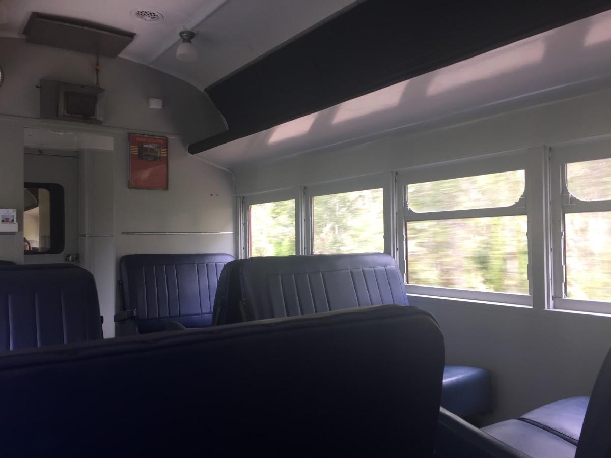 Very few passengers would have paid the extra money to sit in first class when these trains were new. But it costs no extra to travel 'first class' on Byron Bay's solar train.