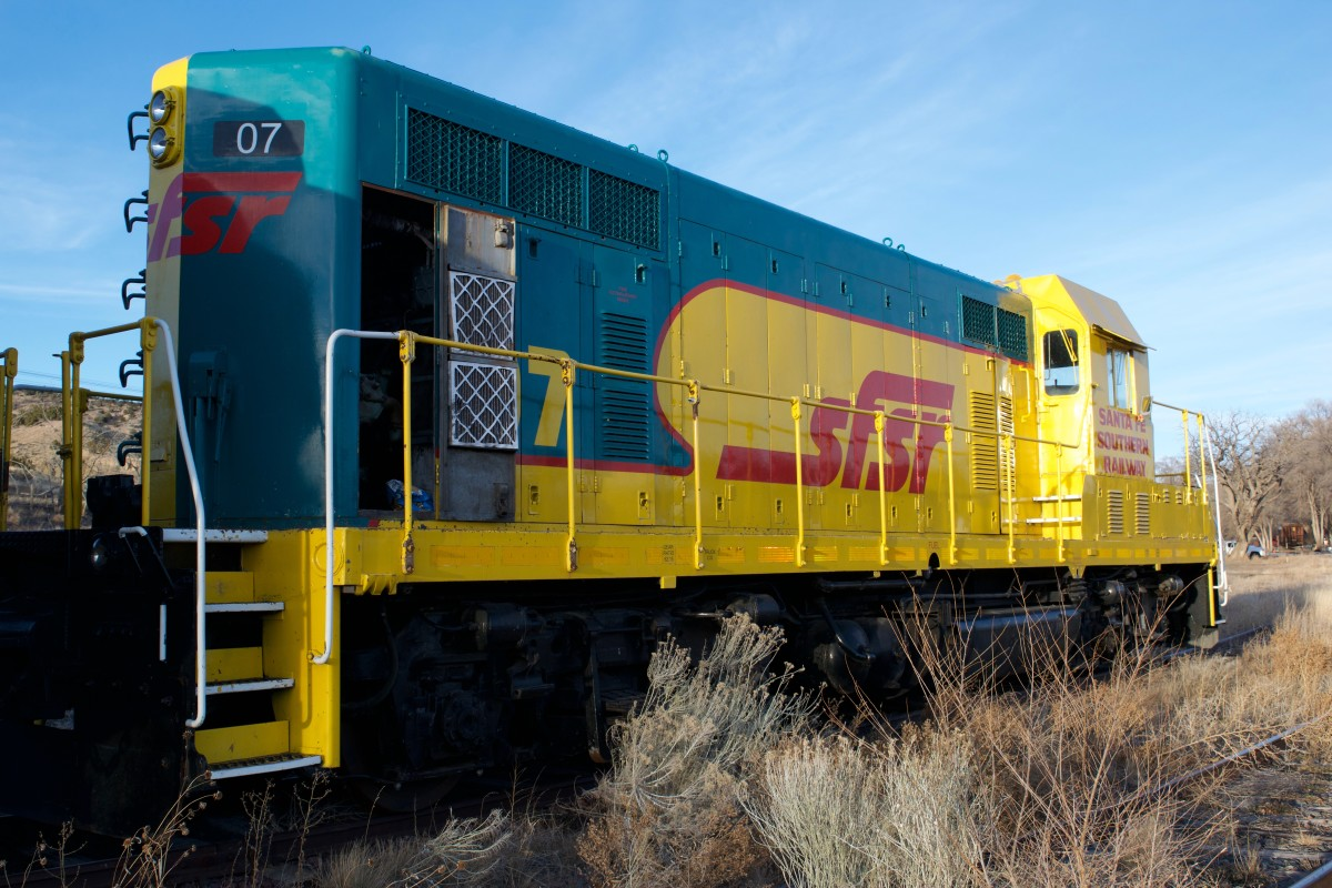 A dormant Santa Fe Southern Railroad locomotive